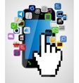 Universal design mobile phone with mouse hand vector image