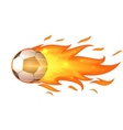 Flying soccer ball with flames isolated on white vector image