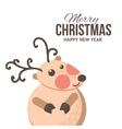 Cute Christmas reindeer card vector image