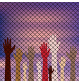 Hands Behind a Wire Fence vector image