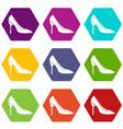 bride shoes icon set color hexahedron vector image
