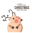 Cute Christmas reindeer card vector image