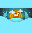 paper cartoon landscape horse vector image