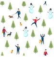 seamless winter park pattern dog walking vector image