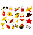 summer beach objects set vector image
