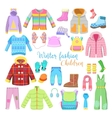 Children Winter Clothes and Accessories Collection vector image