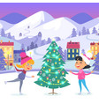 happy children on icerink near christmas tree vector image