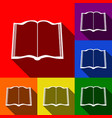 book sign set of icons with flat shadows vector image