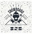 Snowboard retro emblem vector image