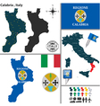 Map of Calabria vector image vector image