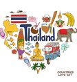 Thailand symbols in heart shape concept vector image