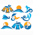Wave surf sunbathing Vector Image