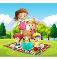 Children reading books in the park vector image