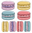 Set of colorful French macaroon cookies vector image
