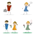 four drawings of men and women vector image