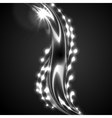 Glowing white silver wave on black background vector image