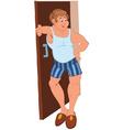 Happy cartoon man standing near the open door vector image