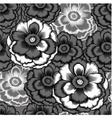 monochrome seamless pattern with decorative peony vector image