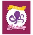 purple octopus balloon happy birthday card vector image