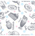 seamless pattern with desserts hand drawn pancakes vector image