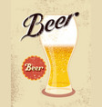 vintage style poster with a beer glass vector image