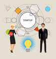 startup concept with business people vector image