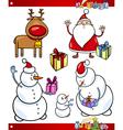 Santa and Christmas Themes Cartoon Set vector image vector image