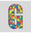 Color Puzzle Piece Jigsaw Letter - G vector image