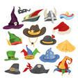 different funny holiday carnival hats for party vector image
