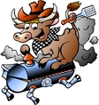 Hand-drawn of an Cow riding a BBQ barrel vector image