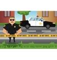 Policeman and patrol car vector image
