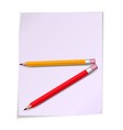 Page paper with pensils vector image vector image