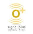 Logo Signal Letter O Plus Yellow Alphabet Wireless vector image