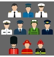 Firefighter soldier pilot and captains avatars vector image vector image