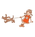 Girl with barking dog vector image