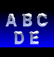a b c d e letters with snow caps vector image