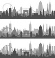 New York Paris and London profiles vector image
