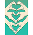Human hands with heart sign set vector image