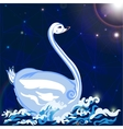 swan floats on the waves vector image
