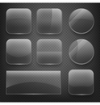 Glass square rectangular and round buttons on vector image