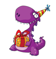 dinosaur and a gift vector image vector image
