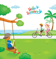 Children Relaxing in Public Park Near The Sea vector image