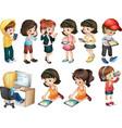 Different activities of young women vector image