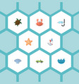 flat icons sea star cancer aqualung and other vector image