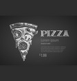 pizza slice chalk drawing vector image