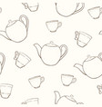 seamless pattern with sketches cups and teapots vector image