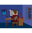 Workaholic man on batteries working late vector image