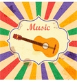 retro music background with guitar vector image