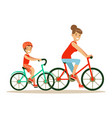 smiling woman and boy riding bikes mom and son vector image