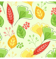 pattern with green and yellow leaves vector image vector image